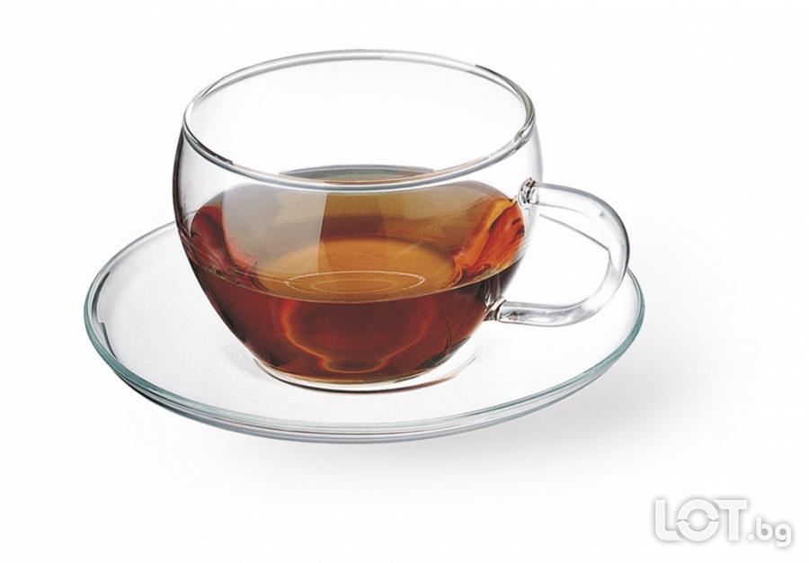 Комплект от 4 чаши за чай със стъклени подложки Simax