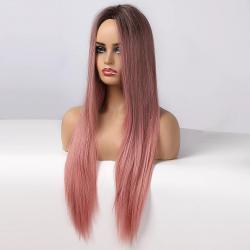 Дълга права розова лейс фронт перука
