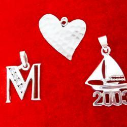Сребърни висулки сърце, кораб.