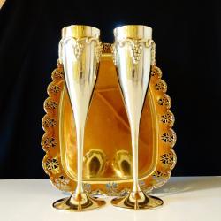 Старинен римски бокал, никелово сребро, грозде.