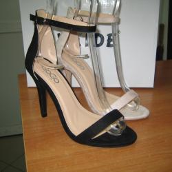 Дамски сандали на ток м. 89-33 черни и бежави