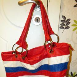 Чанта - червено, синьо, бяло