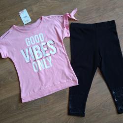 Комплект за момиче 2 части в розово и черно.