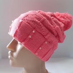 001 Дамска плетена шапка розова
