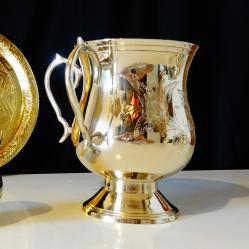 Сватбен бокал с две дръжки, никелово сребро.