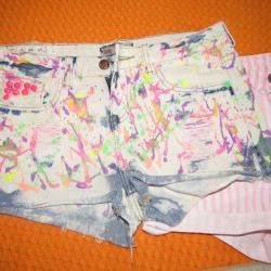 Цветни дънкови къси панталони Bershka