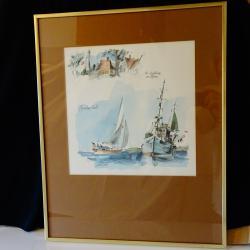 Картина кораби датски художник.