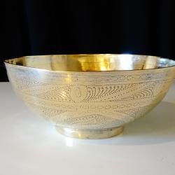 Персийска бронзова бонбониера, купа, орнаменти.