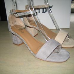 Дамски сандали на ток м. 9373 сиви и бежави