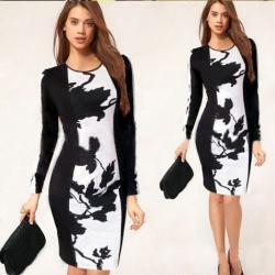 Елегантна рокля  -  калъф с дълъг ръкав.