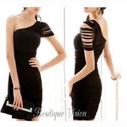 Ново Елегантна черна рокля с една презрамка, налични размери ХС, С