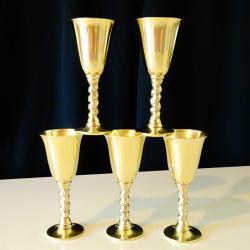 Месингови чаши за ракия, маркирани.