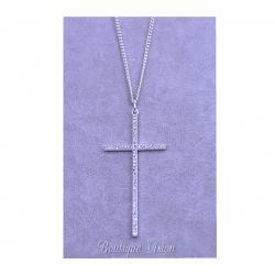 Ново Колие кръст посребрено с камъни цирконий