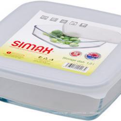 Квадратна тава с бял пластмасов капак с вместимост 1 лт. Simax