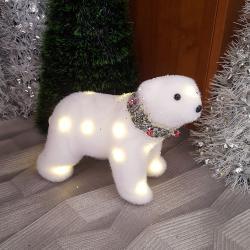 2501 Светеща коледна фигура Бяла мечка с Led светлини, 19x22cm