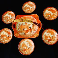 Японски порцелан сервиз, фруктиера, чиния.
