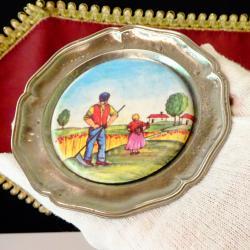 Немска чиния за хапки с картина Сенокос.