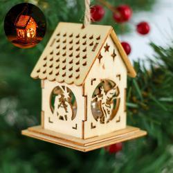 2493 Мини коледна светеща къщичка, украшение за елха, 6x5cm