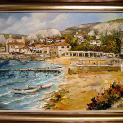 Продавам маслена картина Плажът Балчик