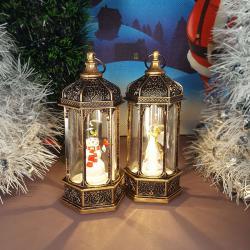 2500 Светещ коледен Led фенер с декорация Ангел и Снежко, 14см