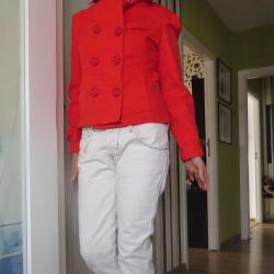 Червен дамски къс шлифер Only