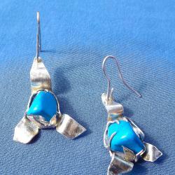 Ново Сребърни обеци проба 950 с естествени камъни - Тюркит