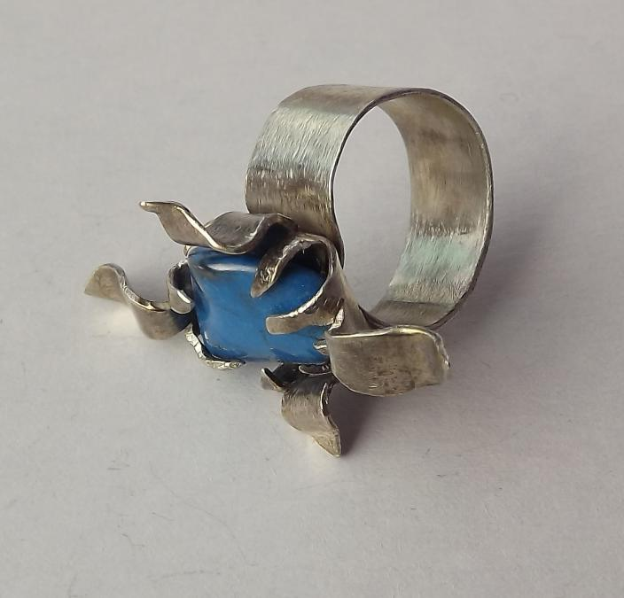 Ново Сребърен пръстен проба 950 с естествени камъни - Тюркит