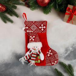 2513 Коледен чорап за подаръци и украса Весел Снежко