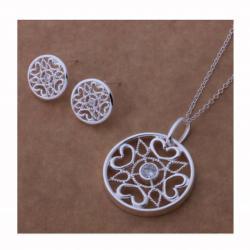 Ново Красив сребърен комплект с флорални мотиви