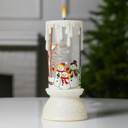 2484 Електронна коледна свещ с LED пламък Снежни човеци, 23см