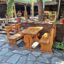 Баварски маси и пейки комплект, дървени маси и пейки втора ръка