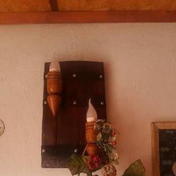 Двоен аплик - стенна лампа от автентични реставрирани бъчви с дървени...