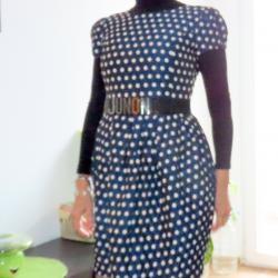 Официална синя рокля на точки Юнона, S номер
