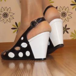 Обувки Nadit & Nadit естественa кожа, черно и бяло, 38 номер