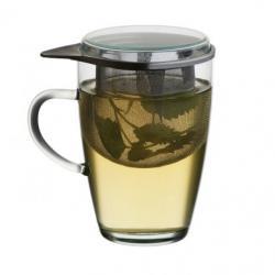 Чаша 350 ml. в комплект със стъклен капак и цедка за чай Simax.