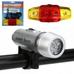 2436 Универсален комплект LED светлини за велосипед фар и стоп за коле