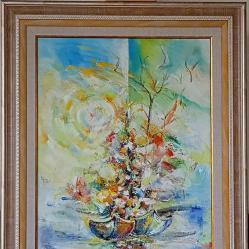 Продавам маслена картина Спомен от пътя