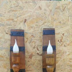 Етно аплици - стенни лампи от автентични бъчви с ръчно изработени дъ..