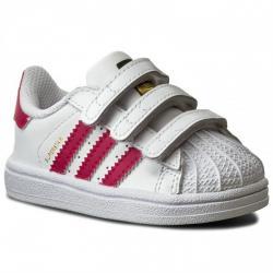 Ликвидация  Ниски кожени кецове Adidas Superstar Бяло Розово