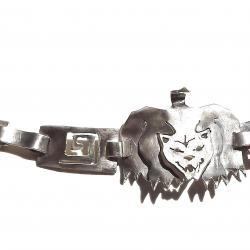 Ново Сребърна гривна пума 950 проба, ръчна изработка, уникат.