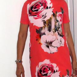 Лятна рокля на цветя, памук, 36 номер