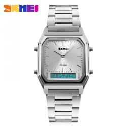 Skmei Dual Time Stainless Steel метален двойно време нов