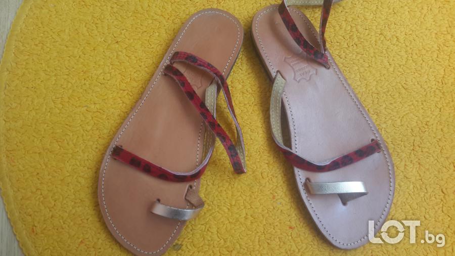 Дамски гръцки сандали от естествен гьон