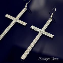 Ново Обици кръст, посребрени с камъни-цирконий