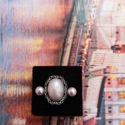 Ново Комплект пръстен с перла  обеци перли