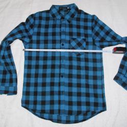 Нови модерни мъжки карирани ризи червено черно и синьо черно каре.