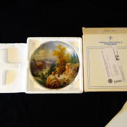 Авторска рисувана чиния баварски порцелан, кутия.