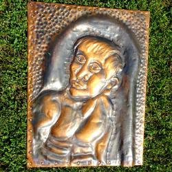 Кована медна картина, портрет 2 кг.