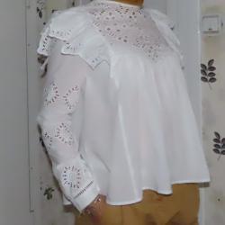 Бяла памучна риза H&m, номер 34