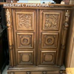Шкаф бял дъб с уникална дърворезба